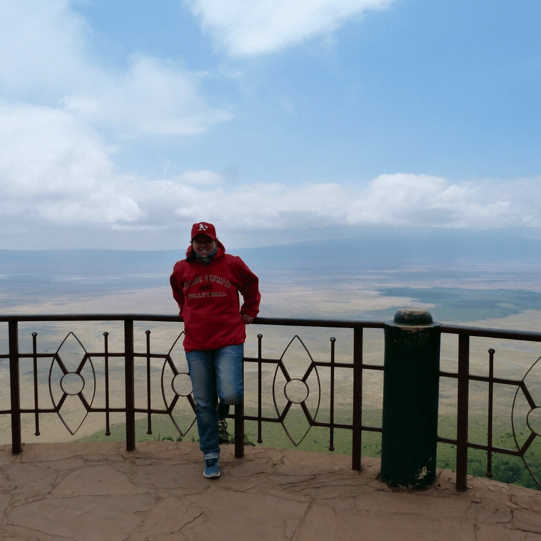 Stephanie am Ngorongoro Krater
